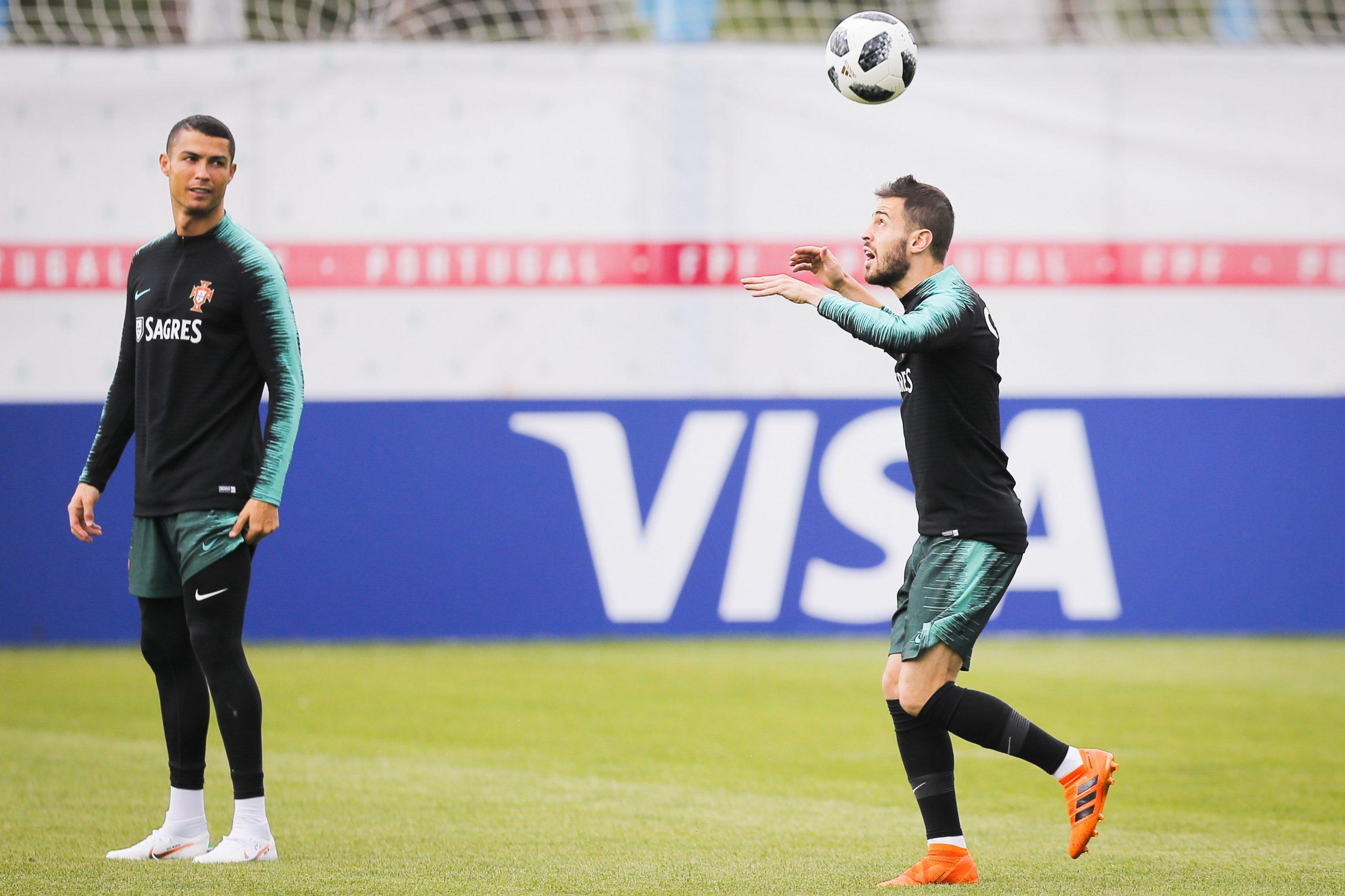 Bernardo Silva et Cristiano Ronaldo à l'entrainement
