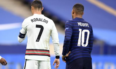 Cristiano Ronaldo et Kylian Mbappé pendant France - Portugal