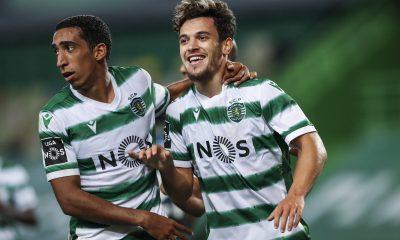 Pedro Gonçalves célèbre son but face au CD Tondela avec le Sporting CP
