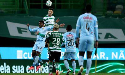 May 1, 2021, Lisbon, Portugal: Brayan Riascos of CD Nacional (L) heads the ball with Sebastian Coates of Sporting CP dur