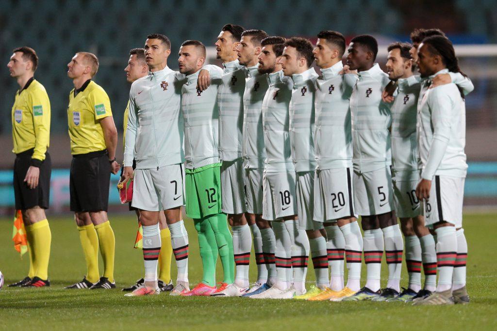 Euro 2021, liste du Portugal. L'équipe du Portugal durant l'hymne nationale.