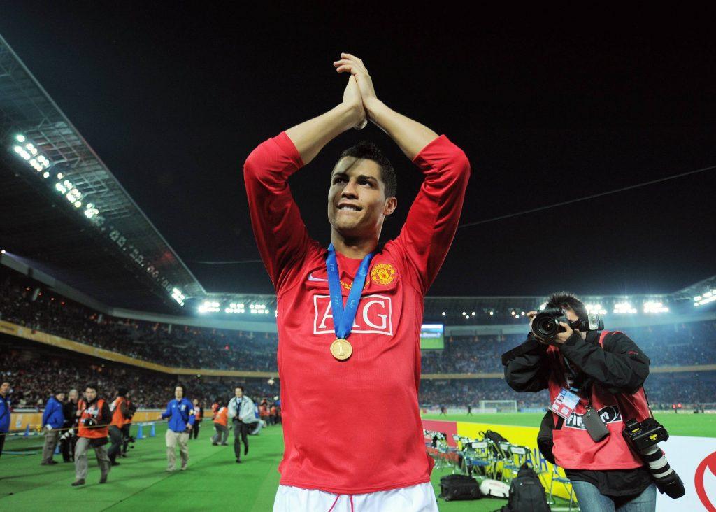 Cristiano Ronaldo avec Manchester United en 2008