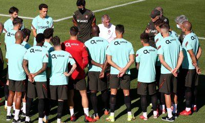 Les joueurs du Portugal à l'entraînement